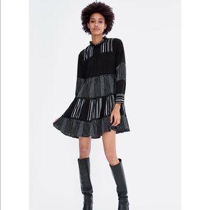 Zara contrast stitching long sleeve dress